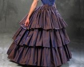 c.1860 Civil War Debutante Ball Violet Silk Ruffled Skirt and Hoop Petticoat