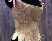 c. 1660 Cavalier  Moliere Corset in a Gold Flowered Brocade