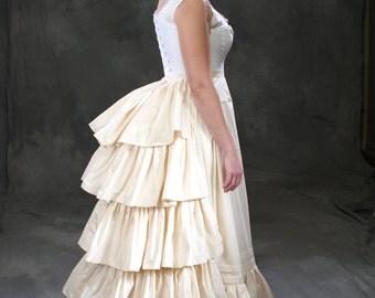 Victorian, Gilded Age historic underwear ensemble c. 1880, corset, full set bustle, bustle petticoat, chemise, all sizes