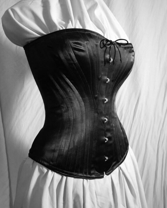 SALE-- c. 1880 Victorian Corset in Black Satin Coutil