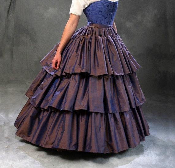c.1860 Civil War Debutante Ball Violet Silk Ruffled Skirt and Hoop Petticoat