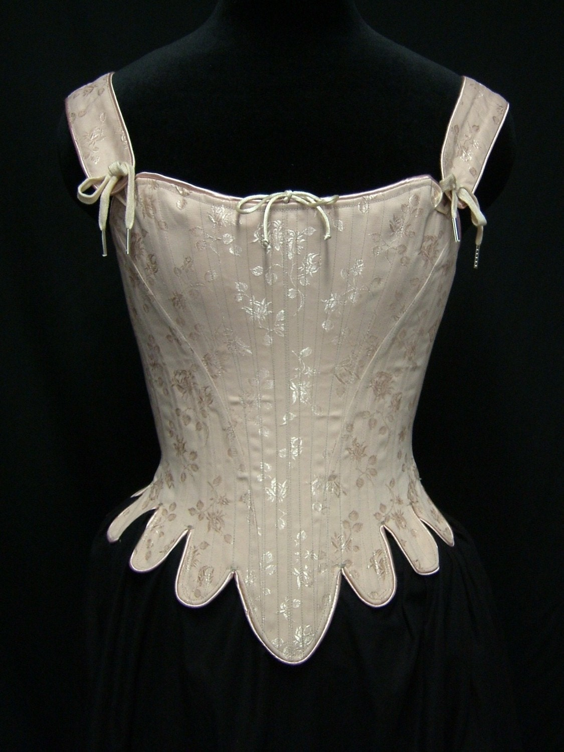 18th Century Marie Antoinette Corset Stays in brocade cotton