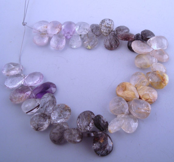 Tourmilinated, Rutilated, Moss Amethyst Quartz Faceted Briolettes FULL STRAND
