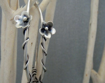 Large Silver Hoop Earrings, Sterling Silver Hoop Earrings, Wire Wrapped Hoop Earrings, Flower Hoop Earrings, Bohemian Jewelry, Gift for Her