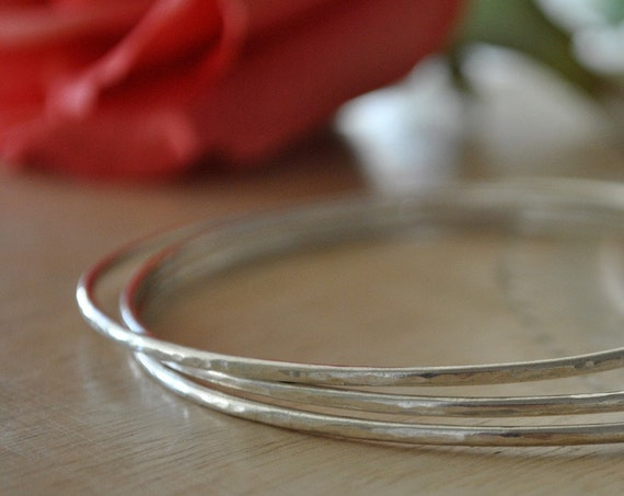 Hammered Sterling Silver Bangle Bracelets, Stacking Bangle Set, Small, Large, Bohemian Jewelry, Gift for Her, Girlfriend, Best Friend