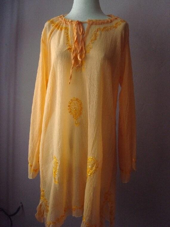 Peachy Ethereal Ethnic Godess Gauze Tunic Dress