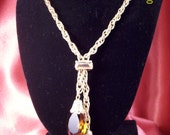 Faux Topaz Briolette Lariat Necklace