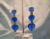 Hearts On A Wire-Cobalt Blue Hearts and Flowers Earrings