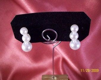Vintage Stacked Pearl Bead Earrings