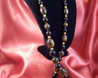 SALE-Vintage Black and Gold Beaded Elegance Necklace