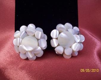 Vintage Mother of Pearl Flower Clip Earrings