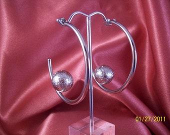 Vintage Silver Orb Hoop Earrings
