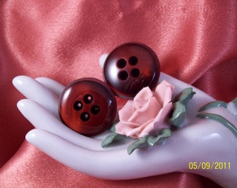 Vintage Cranberry Button Pierced Earrings