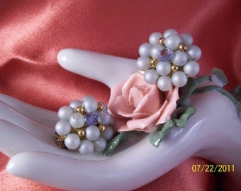 Vintage Pearl Blue Beaded Button Clip Earrings