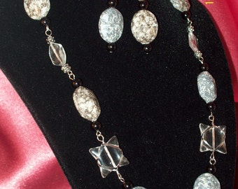 Icy Granite Demi Parure-Beaded Necklace and Earrings Set