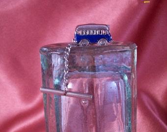 Vintage Blue Metal Bus Tie Tac