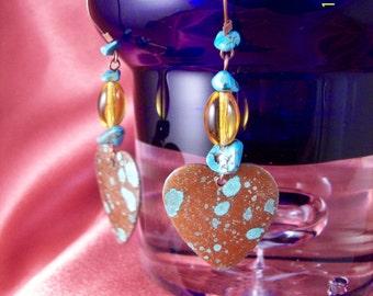 Turquoise Nugget Copper Heart Dangle Earrings