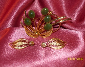 Vintage Faux Jade and Filigree Demi Parure