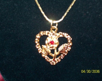 Vintage Ruby Rose Heart Necklace