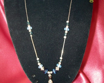 Vintage Blue Cats Eye Necklace