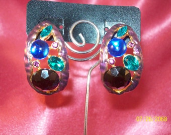 SALE-Vintage Jewel Slice Earrings