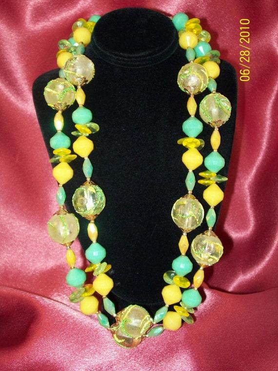 Vintage Double Strand Lemon Lime Beaded Necklace