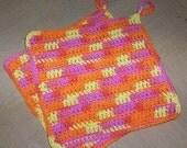Pot holder orange/pink/yellow