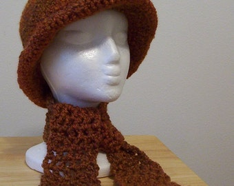 Brown Hat with Scarflette