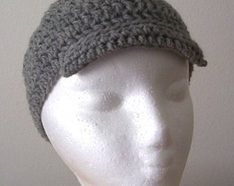 Hat - Crochet Newsboy Hat - Made of Wool in Grey