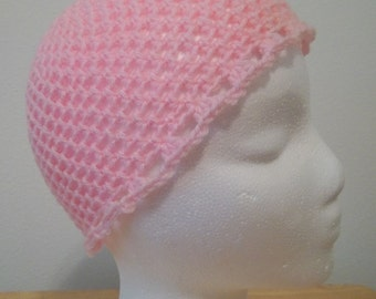Hat - Crochet Summer Cap - Airy - Acrylic Yarn in Pink - Lace Pattern