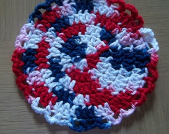 Coaster - Crochet Coaster - Selfstriping Cotton Yarn in Red, White and Blue - Great for Your Table on the 4th of July