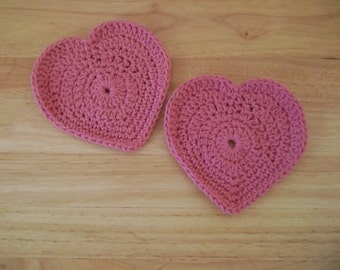 Coaster - Crochet Heart Coaster - Decoration for Valentine's Day