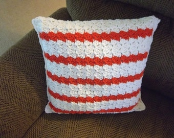 Pillow - Crochet Pillow Cover in White with Stripes in Orange - Cover comes with Pillow Inside