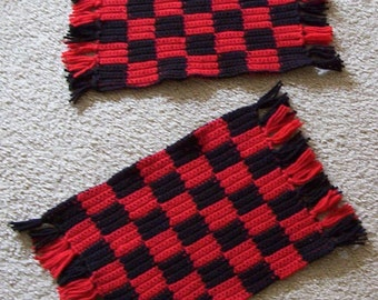 Placemat - Crochet Table Set Red and Black - Table Decoration
