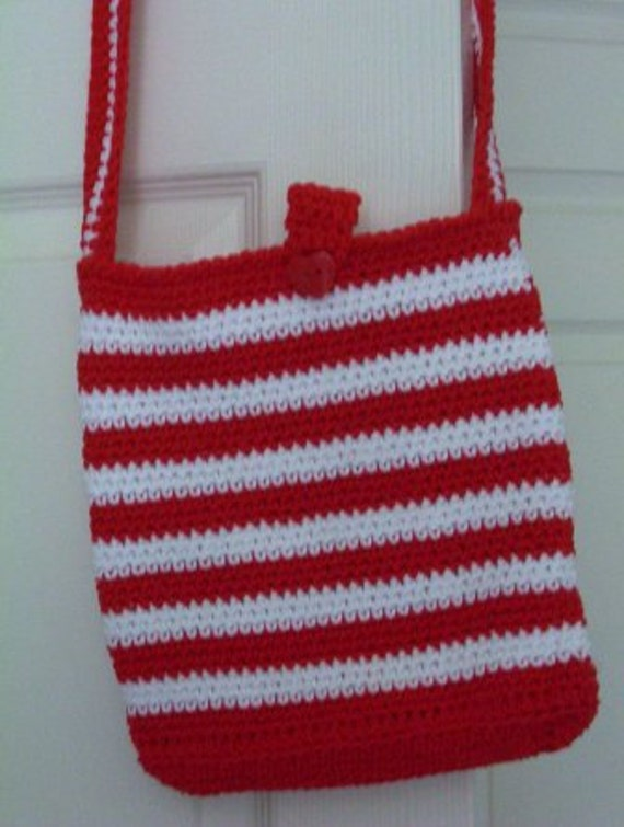 Purse - Crocheted Red-White Strap Purse - City Bag