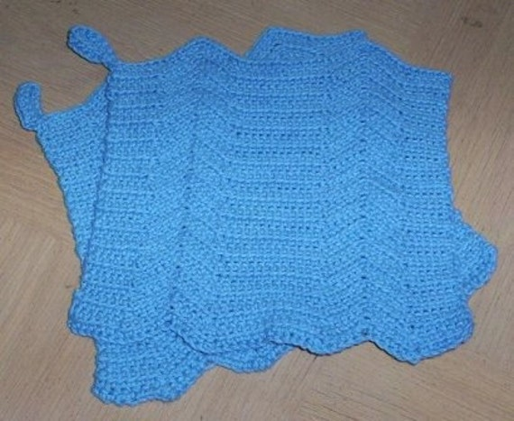 Potholder - Crochet Potholder Set in Blue - Two Crocheted Potholder
