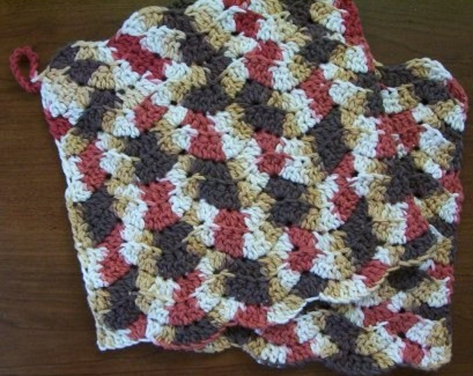 Potholder - Crocheted Potholder in a Brown Mix Cotton Yarn
