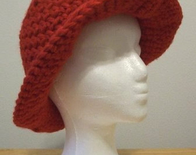Hat - Crochet Hat with Wide Brim - Made of Super Bulky Acrylic Yarn in Red