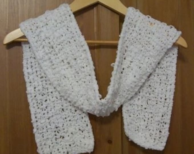 Scarf - Hand Knitted White Scarf - Soft and Skinny - Great for Cooler Summer Evenings