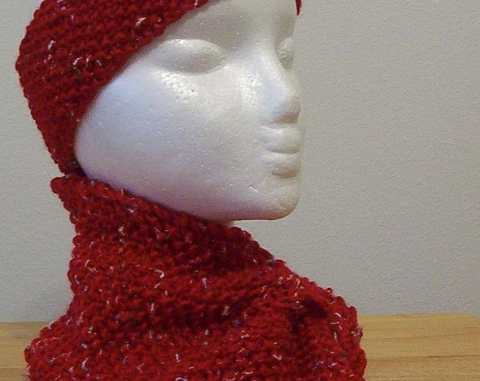 Scarf and Headband - Scarflette - Knitted in Red