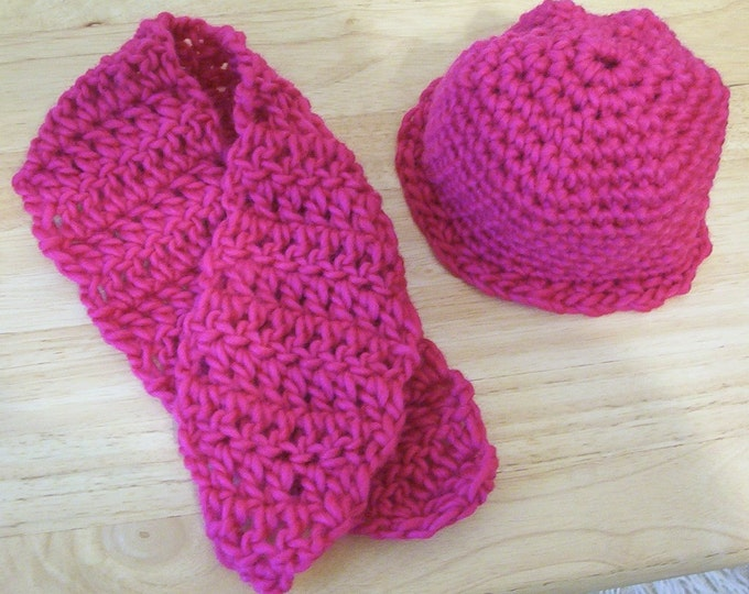 Hat - Hat and Scarf Set for a Doll or a Newborn Baby Girl