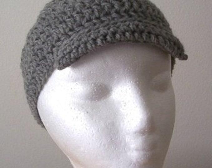 Hat - Crochet Newsboy Hat - Made of Wool in Grey