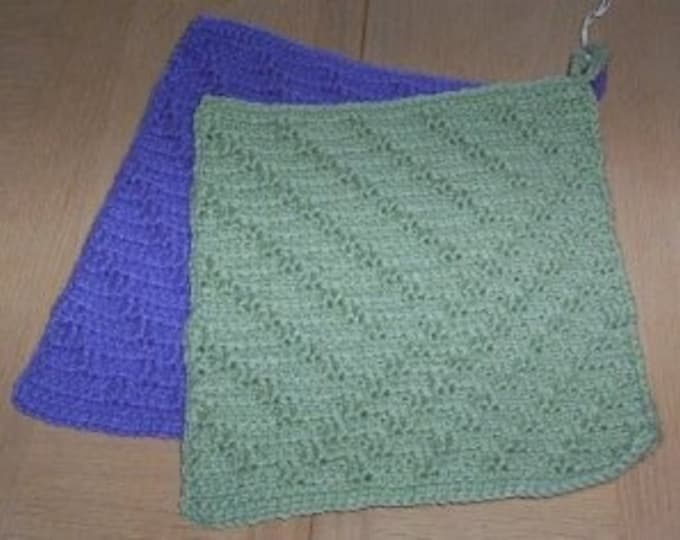 Potholder - Crochet Potholder Set - One in Blue and One in Green