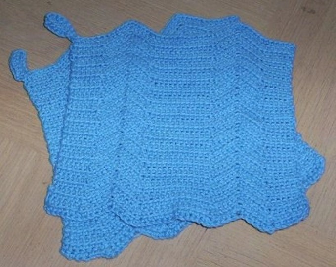 Potholder - Crochet Potholder Set in Blue - Two Crocheted Potholder