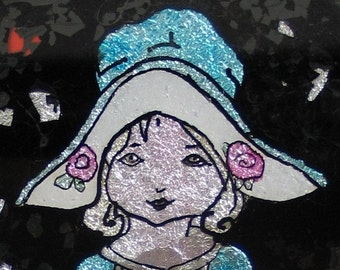 Original 1920s Dutch Girl Reverse Painted Foil Art Print Wall Hanging