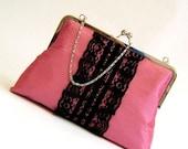XL 'Paris Pink' Silk with Black Lace Detail