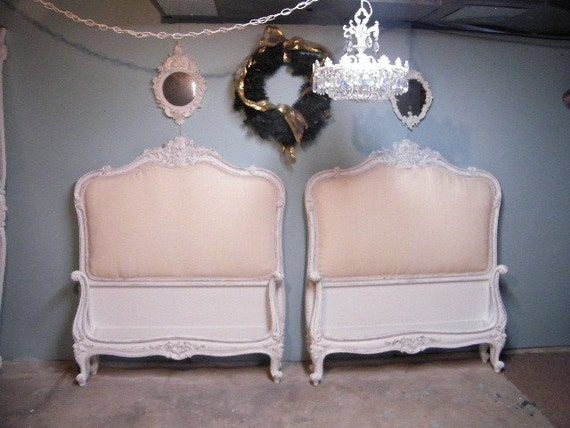 Pair French Twin Shabby Chic Beds Sold