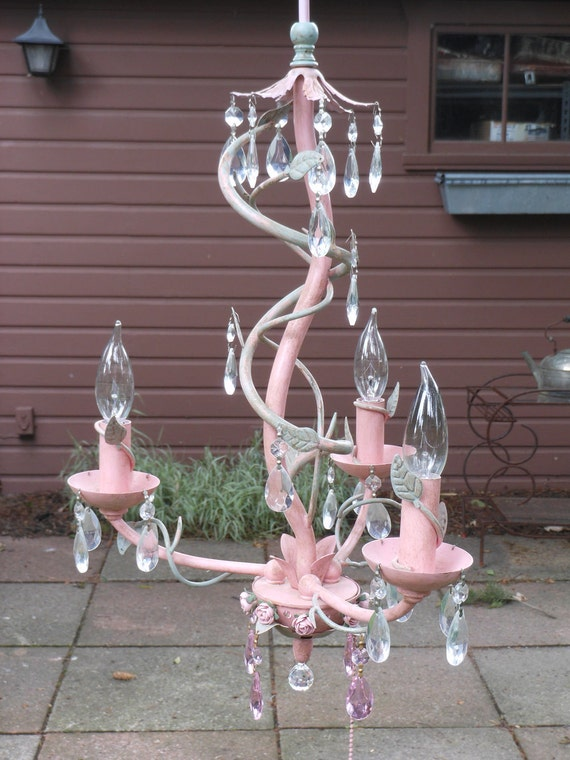 Whimsical Pink Blush Flower& Vine  Chandelier  FREE SHIPPING Reserved for Rebecca