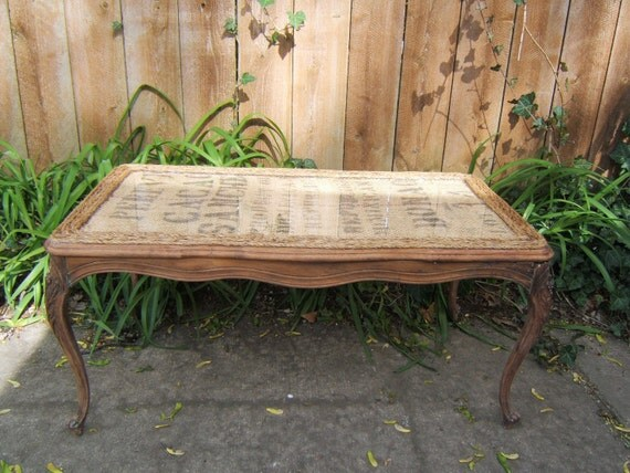 Antique French Walnut Burlap Table