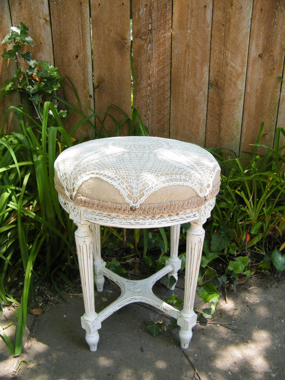 shabby chic vintage burlap crochet stool. Black Bedroom Furniture Sets. Home Design Ideas
